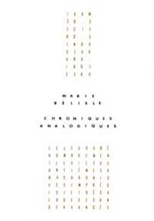 Chroniques analogiques, éditions du Noroît, 1989